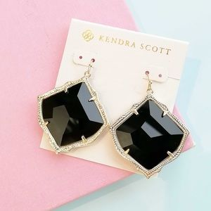 Kendra Scott Kirsten Gold Earring Black Glass